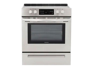 Frigidaire FFEH3051VS 30 Inch Freestanding Electric Range with 4 Elements, Smoothtop Cooktop, 5 cu. ft. Total Oven Capacity, Self-Cleaning Mode, Storage Drawer, ADA Compliant, in Stainless Steel