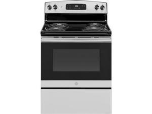 "GE JBS360RMSS 30"" Freestanding Electric Range with 5 cu. ft. Oven Capacity  Storage Drawer  Sensi-Temp Technology  Dual Element Bake  in Stainless Steel"