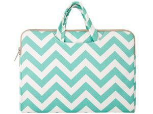 Mosiso - Chevron  Teal Canvas Fabric 15-15.6 Inch Laptop / Notebook Computer / MacBook / MacBook Air / MacBook Pro Briefcase Carry Case (Internal Dimensions: 15.75 x 0.79 x 11.61 inches)