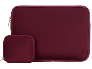 Laptop Sleeve, Mosiso Water-resistant Neoprene Case Bag Cover for 12.9 iPad Pro / 13.3 Inch Notebook Computer / MacBook Air / MacBook Pro With bonus case for MacBook charger or Magic Mouse, Wine Red