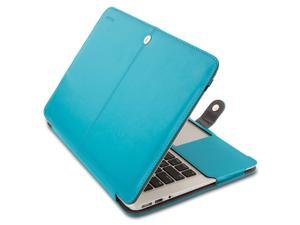 """Mosiso MacBook Air 11 Sleeve Case, Premium Quality PU Leather Book Cover Clip On Folio Case for MacBook Air 11.6"""" (Models: A1370 and A1465)"""