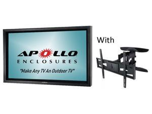 "Apollo outdoor TV enclosure for 70""-75"" Slim TVs - Model AE7570-AWM.  Includes weatherproof dual arm articulating wall mount - Black"