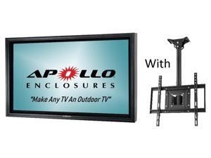 "Apollo Outdoor TV Enclosure for 39""-43"" slim LED TV's, Model AE4239-CM-BL.  Includes weatherproof adjustable height ceiling mount - Black"
