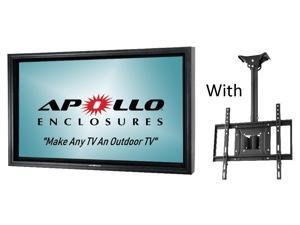 "Apollo Outdoor TV Enclosure fits 50""-55"" LED/LCD TV's. Model AE5550-CM-BL.  Includes weatherproof adjustable height ceiling mount - Black"
