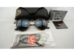 Ray-Ban RB2447 1158/R5 Round Fleck Sunglasses - Tortoise Frame - Blue/Gray Classic 49mm Lenses