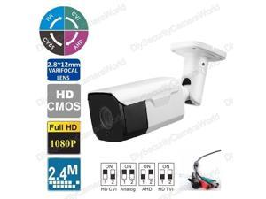 2MP 1080p HD Indoor/Outdoor Bullet Security Camera - 150' Feet of IR - Varifocal 2.8-12mm Lens, 30IR & DC12V- High Definition Security Recording over Coax Cable