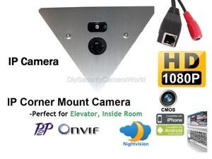 1920 x 1080 HD IP Corner Mount Security Camera 3.6mm Wide Angle Lens, Array LED, Built-in microphone,P2P, ONVIF, Mobile Phone View. Prefect for Elevator, Inside Room