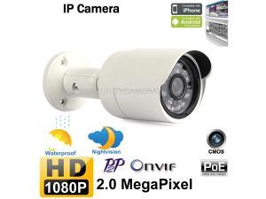 Outdoor 2MP 1920x1080 HD PoE IR-CUT Waterproof Bullet IP Camera(Onvif 2.0, P2P, 24pcs IR LED)