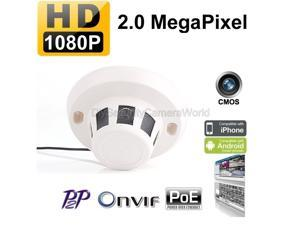 HD 1080P Smoke Detector Covert Hidden IP/Network Surveillance Spy Camera 2.8mm Wide angle lens PoE Onvif Support Mobile View P2P