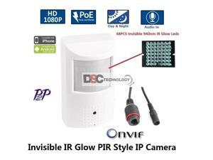 HD 1080P PIR Style Motion Detector Covert Hidden IP/Network Surveillance Spy Camera 3.7mm lens PoE Onvif 48x940nm(Invisible IR Glow) Leds Night-vision Support Mobile View P2P, Audio