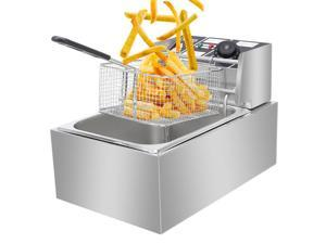 Electric Deep Fryer -Commercial Deep Fryer with Basket 2500watt Countertop Stainless Steel French Fries Restaurant Home Kitchen 6.3QT/6L