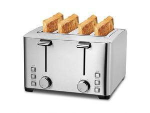 4 Slice Toaster, 4 Extra Wide Slots, Best Rated Prime Retro Bagel Toaster with 6 Bread Shade Settings, Defrost, Bagel, Cancel Function, Removable Crumb Tray, Stainless Steel Toaster, 1500W