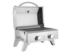 Portable Propane Gas Grill, 20,000 BTU Tabletop Grill Outdoor Cooking Stove with Foldable Legs,Regulator, 2 Burner Stainless Steel for Picnic Camping Trip, Tailgating, Patio Garden BBQ Home Use