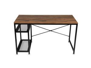 """51"""" Splicing  Desk Computer Corner Desk, Home Desk, Home Office Desks with Moveable Shelf, with 2 Shelves Rustic Space-Saving, Easy to Assemble"""