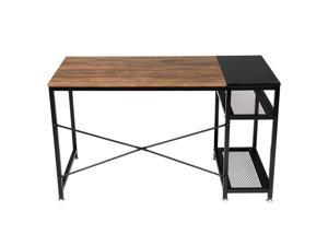 """51"""" Splicing  Desk Computer Corner Desk, Home Desk, Home Office Desks with Moveable Shelf, with 2 Shelves Rustic Space-Saving, Easy to Assemble, Brown & Black"""
