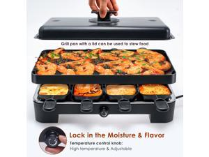 ELECSHELL Raclette Table Grill,Smokeless Indoor Grill and Outdoor Electric Grills, Portable 3 in 1 with Adjustable temperature control with 8 Mini Pans, for 2-6 People with Family Fun & BBQ Parties