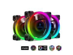 anidees AI Aureola Duo 80mm 3pcs RGB PWM Fan Compatible with ASUS Aura SYNC/MSI Mystic/GIGABYTE Fusion MB with 5V 3pins RGB Header, for case Fan, Cooler Fan, with Remote(AI-AR-DUO8)