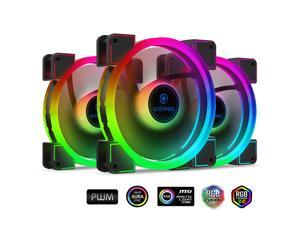 anidees AI Aureola Duo 140mm 3pcs RGB PWM Fan Compatible with ASUS Aura SYNC/MSI Mystic/GIGABYTE Fusion MB with 5V 3pins RGB Header, for case Fan, Cooler Fan, with Remote(AI-AR-DUO14)