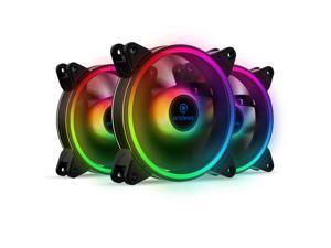 anidees AI Tesseract Duo 120mm 3pcs RGB PWM Fan Compatible with ASUS Aura SYNC/MSI Mystic/GIGABYTE Fusion 2.0 MB with 5V 3pins RGB Header, for case Fan, Cooler Fan, with Remote(AI-Tesseract-Duo)