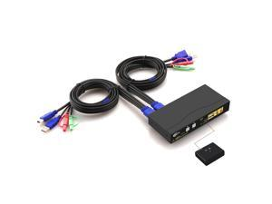 CKLau 4Kx2K Ultra HD 2 Port HDMI Cables KVM Switch Control 2 Computers/DVR/NVR with USB 2.0 Hub and Audio Support Keyboard Mouse Switching for Linux Windows Mac Unix