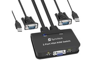 Synvisus 2X1 USB VGA KVM Switch Hotkey Switch 2 Port with Cables for Controlling 2 PCs Using 1 Monitor, Keyboard&Mouse | Supports up to 1080P@60Hz with Auto Scan & DDC