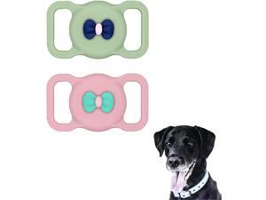 Xmada Dog Collar AirTag Case for The Apple AirTag 2021 - 2 PCS Soft Lightweight Silicone Apple AirTag Holder for Dog Collar, Cat Collar, Backpack (Pink & Olive Green)