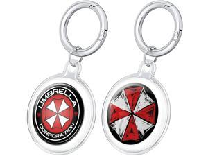 TONYSTAR Airtags Case,2-Pack Airtags Protective Cover w/ 2 Sets of Resident Umbrella Evil Corp Stickers for Apple Air Tag 2021 -TPU Full Coverage Protection with Keychain