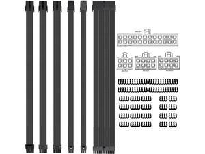Clovertale Braided ATX Sleeved Cable Extension kit for Power Supply Cable Kit, PSU connectors, 24 Pin, 8 pin, 6 pin 4 + 4 Pin, 6 Pack, with Reusable Fastening Cable Ties 10 Pack (Black)