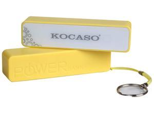 Kocaso 2600mAh Power Bank for cellphones Samsung, HTC, Sony, iPhone/iPod or other electronic products with DC-5V input in Yellow color