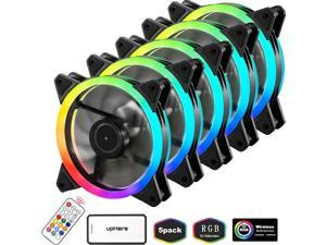 upHere RGB Case Fan Wireless RGB LED 120mm FanQuiet Edition High Airflow Adjustable Color LED Case Fan for PC Cases-5 PackRGB123-5