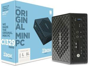 ZOTAC ZBOX Ci329 Nano Silent Mini PC Intel N4100 Quad-Core, Intel UHD 600 Graphics, HDMI, VGA, DisplayPort, 4GB DDR4/64GB SSD/Windows 10 Home in S Mode System, ZBOX-CI329NANO-U-W2D