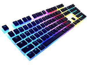 Havit Keycaps Double Shot Backlit PBT Pudding Keycap Set with Puller for DIY Cherry MX Mechanical Keyboard, Black & White
