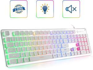 LANGTU Membrane Gaming Keyboard, Rainbow LED Backlit Quiet Keyboard for Office, USB Wired All-Metal Panel 25 Keys Anti-ghosting Computer Keyboard 104 Keys - L1 White/Silver
