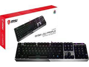 MSI Gaming Gear Backlit RGB LED Kailh Low Profile Mechanical Switches Anti Ghosting 104 Keys Brushed Aluminum Gaming Keyboard (Vigor GK50 Low Profile US)