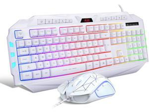 White Gaming Keyboard and Mouse ComboMageGee GK710 Wired Backlit Keyboard and White Gaming Mouse ComboPC Keyboard and Adjustable DPI Mouse for PC/loptop/MAC
