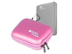 DURAGADGET Premium Quality Hard EVA 'Shell' HDD Case in Pink - Suitable for use with Western Digital Elements External Hard Drive - with Carabiner Clip