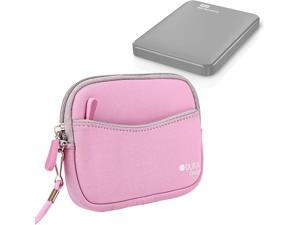 DURAGADGET Lightweight Pink Carry Pouch - Suitable for Western Digital Elements/Passport Essential Portable External Hard Drive