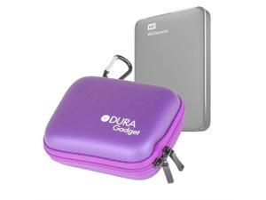 DURAGADGET Premium Quality Hard EVA 'Shell' HDD Case in Purple - Suitable for Use with Western Digital Elements External Hard Drive - with Carabiner Clip