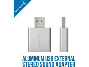 Sabrent Aluminum USB External Stereo Sound Adapter for Windows and Mac. Plug and play No drivers Needed. (Silver) (AU-EMAC)