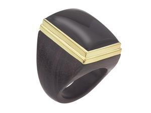 THE BRANCH 18K Vermeil Square Onyx Ring (7.5)