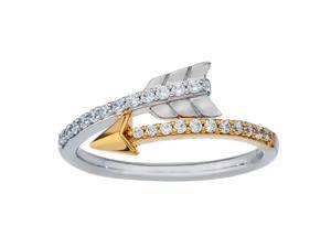 Diamond Arrow Ring in 10Kt Yellow Gold and Sterling Silver