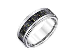 Mens Tungsten Band with Yellow Carbon Fiber