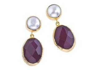 Y&H  18K Gold Plate, Pearl & Red Quartz Earrings