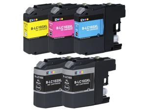 E-Z Ink ™ 5 Pack Compatible Ink Cartridge Set for Brother LC103 XL (2 Black, 1 Cyan, 1 Magenta, 1 Yellow) DCP-J152W MFC-J245 J285DW J450DW J470DW J475DW J650DW J6520DW J6720DW J6920DW J870DW J875DW