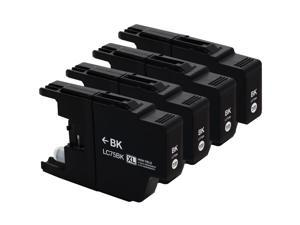 E-Z Ink ™ Compatible Ink Cartridge Replacement For Brother LC75 LC-75 LC-75XL High Yield (4 Black) LC75BK LC75BKS