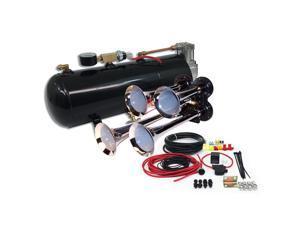 Train Air Horn Kit; Four Trumpets w/110 PSI, 12-Volt Compressor, Tank & Gauge