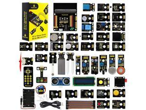 KEYESTUDIO 45 Sensors Starter Kit for BBC Microbit (Without Microbit Board),Sensor Breakout Board,i2c LCD,OLED Display,Gas Sensor,Water Level,Relay etc. with Tutorials Coding for Kids Teens Adults