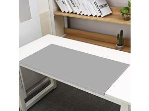 """Non-Slip 35.4""""x 18.9"""" Soft Leather Surface Office Desk Mouse Mat Pad with Full Grip Fixation Lip Table Blotter Protector(Gray)"""