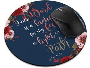 Non-Slip Round Mousepad, Christian Bible Verses Psalm 119:105 Mouse Pad for Home, Office and Gaming Desk