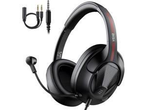Gaming Headphones Headset with Microphone, EKSA Air Joy Ultralight Stereo Surround Sound PC Computer Gaming Headset with Mic Overear Headset Headphones for PS4 Xbox One PC Smartphones, Black